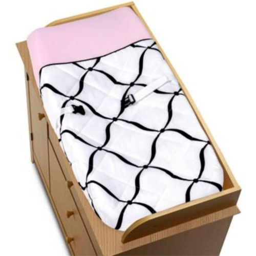 Sweet Jojo Designs Princess Changing Pad Cover in Black/White/Pink