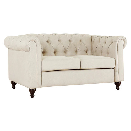 Thomas Modern Chesterfield Linen Fabric Tufted Loveseat with Wood Legs