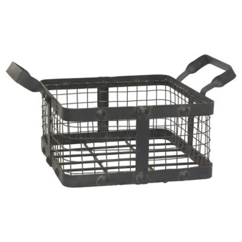 Stonebriar Collection 14 in. x 6 in. Graphite and Rust Metal Basket with Rivet Trim