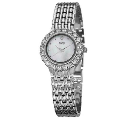 Burgi Women's Swiss Quartz MOP Crystal-Accented Bracelet Watch