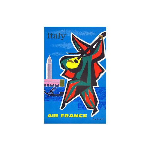 Italy Air France Travel Poster