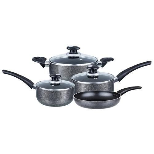 Brentwood 7-piece Nonstick Grey Aluminum Cookware Set