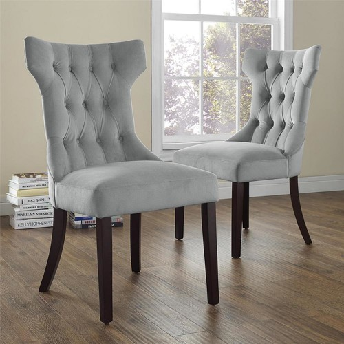 Dorel Clairborne Gray Microfiber Tufted Dining Chairs (Set of 2)