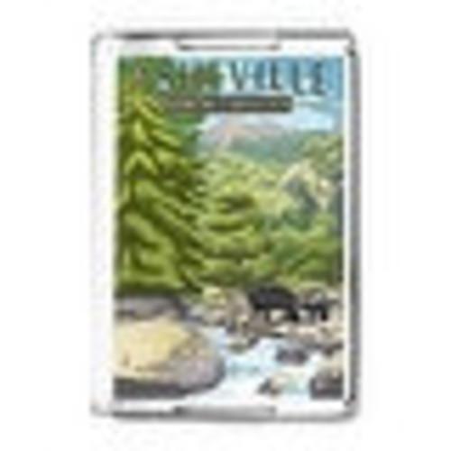 Asheville, North Carolina - Black Bears & Stream - Lantern Press Artwork (Acrylic Serving Tray)