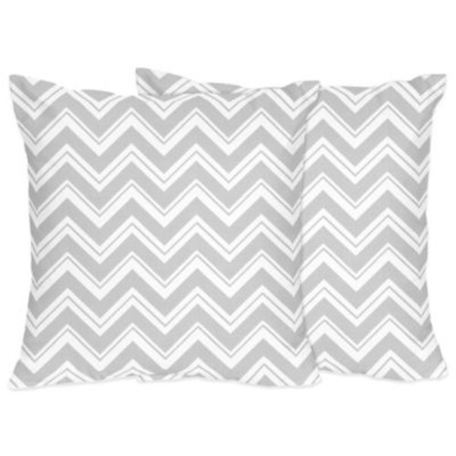 Sweet Jojo Designs Zig Zag Decorative Throw Pillows in Grey/White (Set of 2)