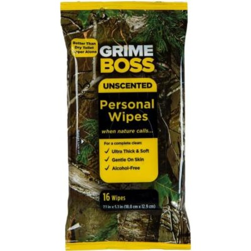 GRIME BOSS 16-Count Realtree Unscented Personal Wipes