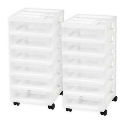 IRIS Medium 6-Drawer Storage Cart with Organizer Top in White (Set of 2)