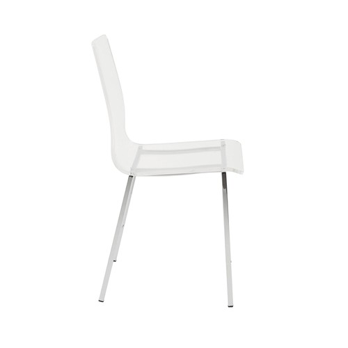 Euro Style Chloe Clear Acrylic Side Chair with Chomed Base, Set of 4 [Side]