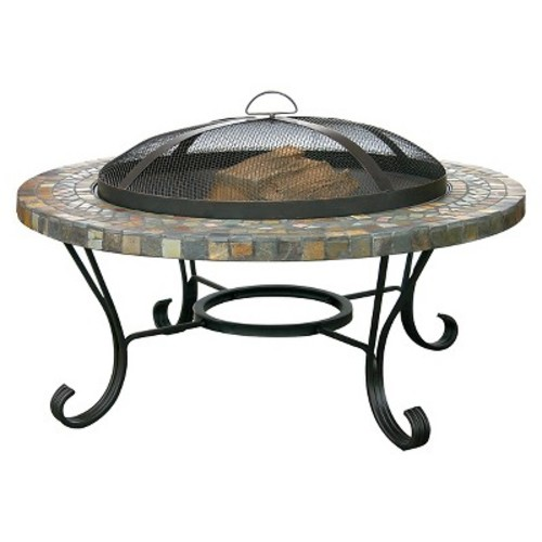 UniFlame Round Fire Pit - Black with Stone Edge