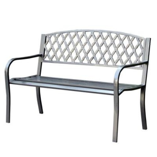 Jeco 50 in. Crossweave Curved Back Steel Park Bench