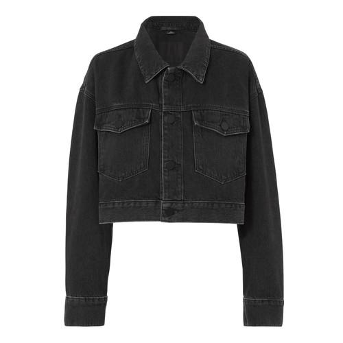 ALEXANDER WANG Oversized Faded Black Denim Crop Jacket