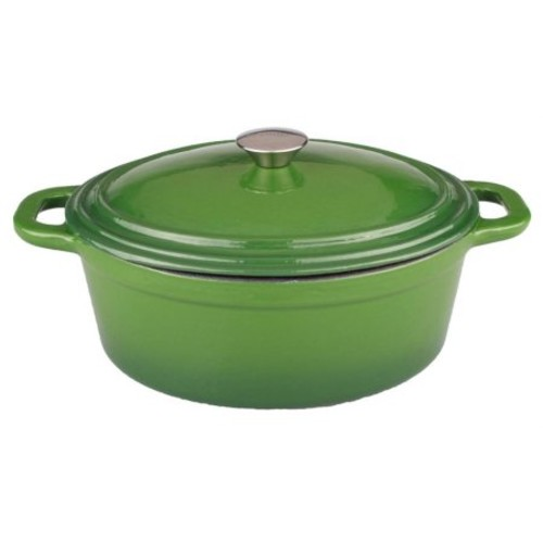 8 Qt. Cast Iron Oval Covered Casserole Green