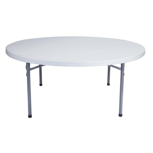 Round Blow Molded 71x71-in Lightweight Folding Tables, Case of 30