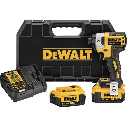 DEWALT MAX XR Brushless Impact Driver Kit  20 Volt, 1/4in. Hex Drive, 3-Speed, Tw0 4.0Ah Li-Ion Batteries, Model# DCF887M2
