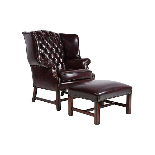 Chesterfield Wingback Chair and Ottoman