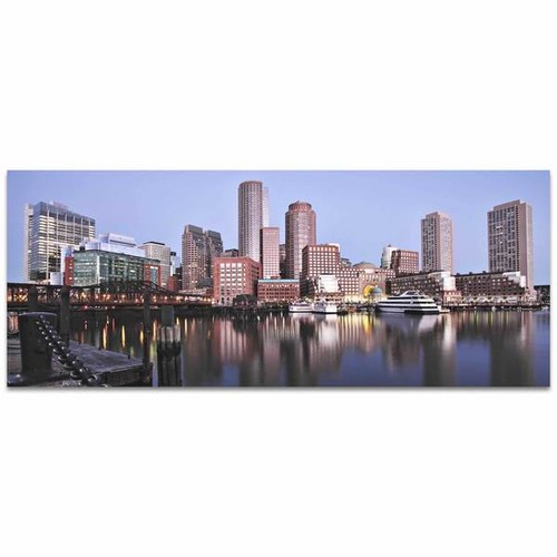 Modern Crowd 'Boston City Skyline' Urban Cityscape Enhanced Photo Print on Metal or Acrylic [option : Metal Gicle (Matte Finish)]