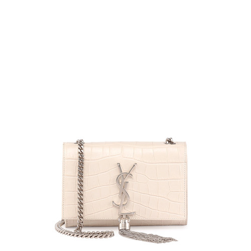 SAINT LAURENT Monogram Small Croc-Stamped Shoulder Bag, White