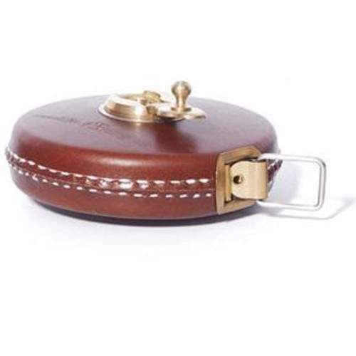 Bright Tangerine Brown Leather Tape Measure with Brass Winder, 33'/10m B1300.1000