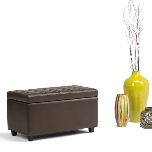 Simpli Home Darcy Chocolate Brown PU Faux Leather Storage Ottoman