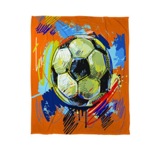 Soccer Goal Win Play Coral Fleece Throw