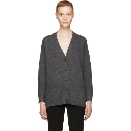 PRADA Grey Wool & Cashmere Elbow Patches Cardigan