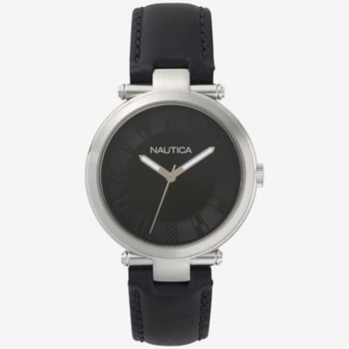 Nautica Flagstaff Men's 36mm Watch in Stainless Steel with Black Leather Strap