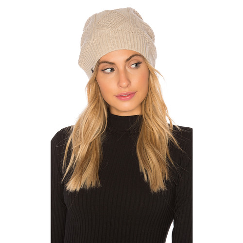 Plush Fleece Lined Cable Knit Beanie in Mink