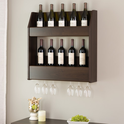 Prepac 2-Tier Floating Wine and Liquor Rack in Espresso Finish