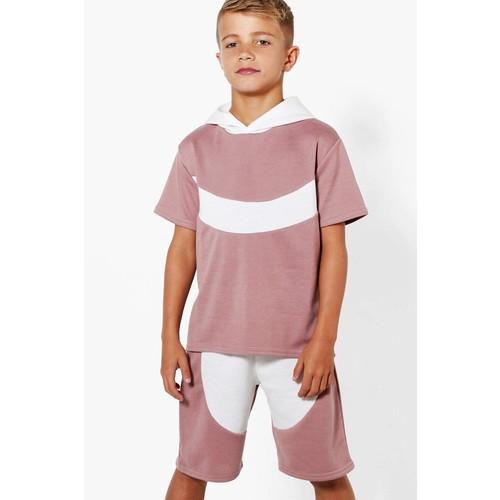 Boys Curve Contrast Short Sleeved Hoodie
