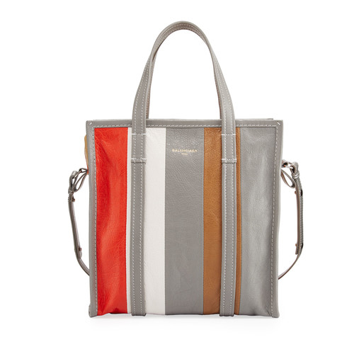 BALENCIAGA Bazar Small Striped Leather Shopper Tote Bag