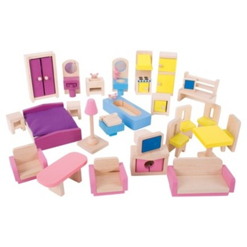 Bigjigs Toys Heritage Playset Wooden Doll Furniture Set - 27 Pieces: Toys & Games