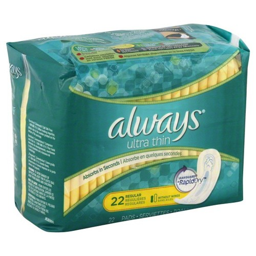 Always Ultra Thin Pads, Without Wings, Long, Super, 22 pads