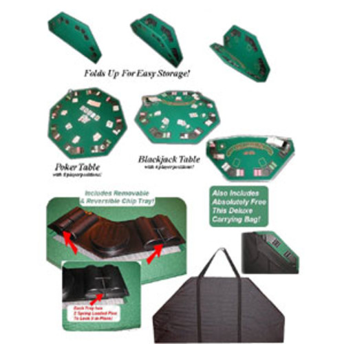 Padded Octagon Folding Poker Table Top with Cup Holders Green