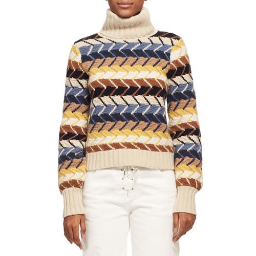 CHLOE Herringbone Knit Turtleneck Sweater, Blue Pattern