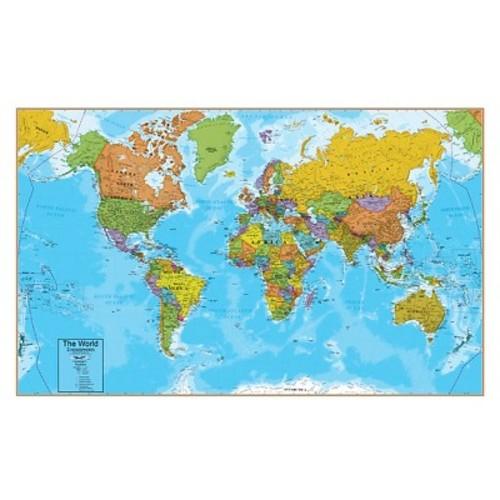 Round World Hemispheres World Interactive Wall Chart