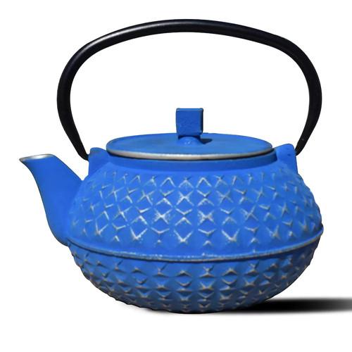 Dutch Yorokobi 4-Cup Teapot in Blue and Silver