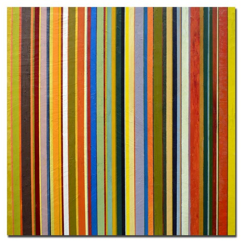 Trademark Global Michelle Calkins 'Comfortable Stripes' Canvas Art [Overall Dimensions : 18x18]