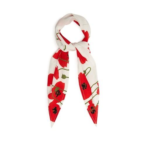 Poppy-print silk scarf