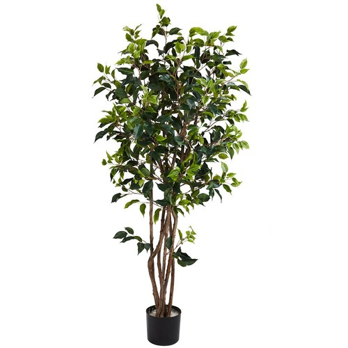 Nearly Natural 5 ft. Green Ficus Bushy Silk Tree