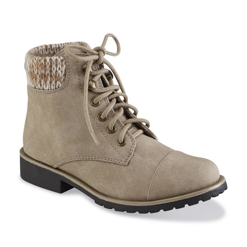 Girl's Edith Taupe Ankle Combat Boot [Width : Medium]