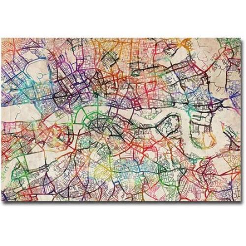 London Street Map V by Michael Tompsett, 16x24-Inch Canvas Wall Art [16 by 24-Inch]