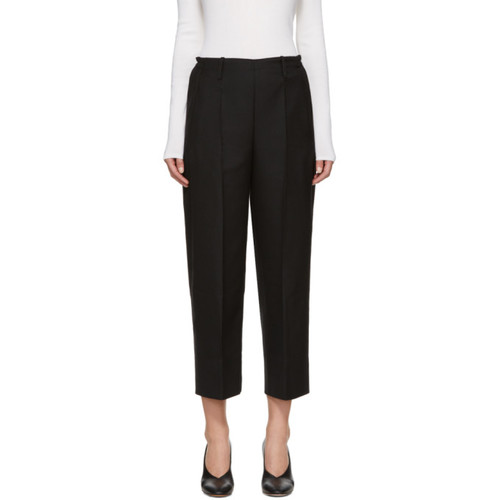 LEMAIRE Black Cropped Wide-Leg Trousers