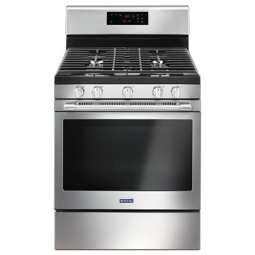Maytag 30 in. 5.0 cu. ft. Wide Gas Range with 5th Oval Burner in Fingerprint Resistant Stainless Steel