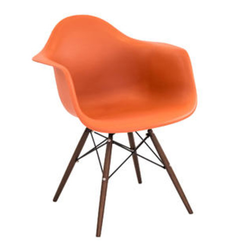 Lumisource Neo Flair Mid-Century Modern Chairs in Orange and Espresso by LumiSource - Set of 2