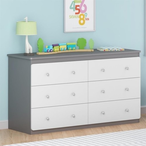 Ameriwood Home Willow Lake 6 Drawer Dresser in Light Slate Gray and White