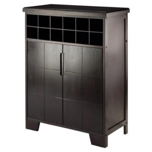 Winsome Wood Bonnay Wine Display Cabinet, Espresso Finish