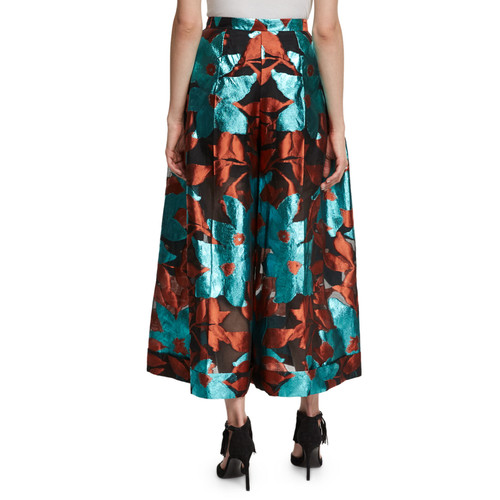 DELPOZO Metallic Floral Burnout Midi Skirt, Blue