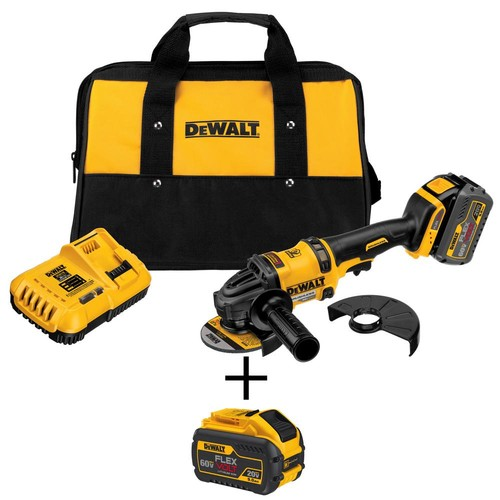 DEWALT FLEXVOLT 60-Volt MAX Lithium-Ion Cordless Brushless 4-1/2 in. Angle Grinder with Battery, Charger and Bonus Battery 3Ah