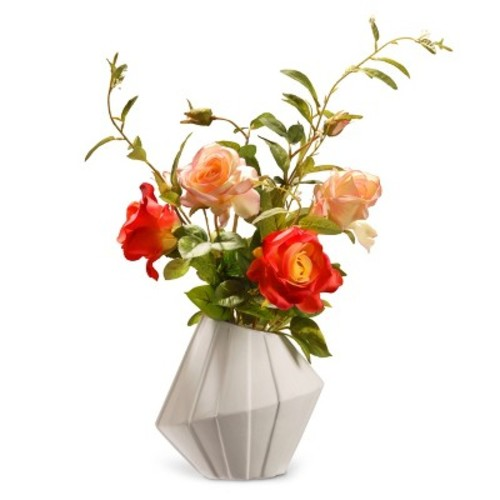 Artificial Potted Rose Flowers Red 22