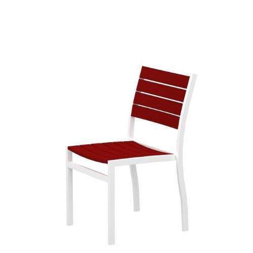 POLYWOOD A10013SR Euro Dining Side Chair, Textured White/Sunset Red [Sunset Red]
